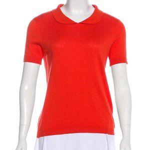 Kate Spade Orange S/S Peter Pan Collar Top Medium